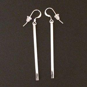 Jewelry - 1 3/4  Silver bar earrings